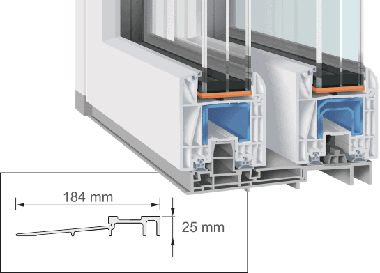 small threshold for lift and slide door