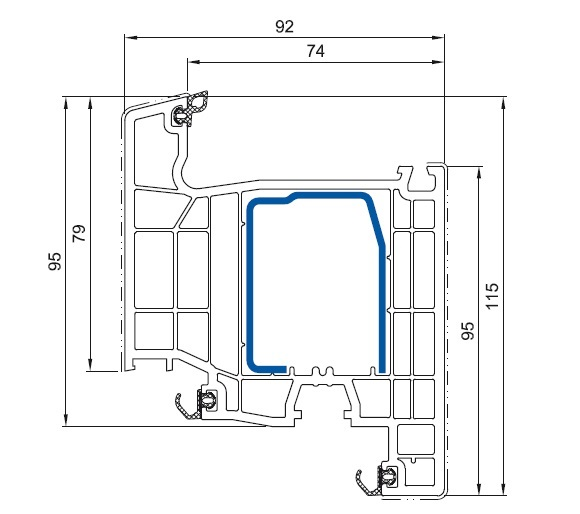 cercevea usa de balcon salamander bluevolution 92