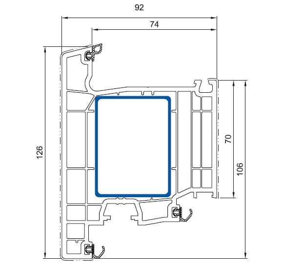 cercevea usa de intrare Salamander bluEvolution 92 cu deschidere exterioara