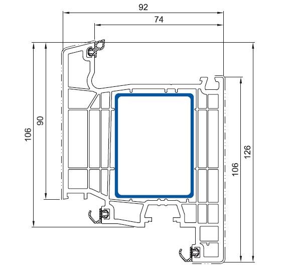 cercevea usa de intrare Salamander bluEvolution 92 cu deschidere interioara