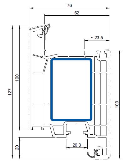 cercevea de usa de intrare greenEvolution 76 cu deschidere interioara